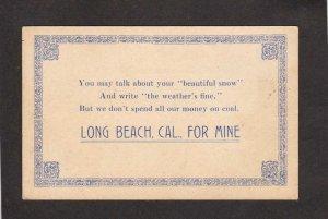 CA Poem Coal Long Beach Calif California For Mine Postcard PC
