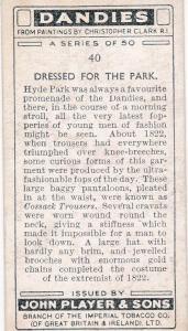Cigarette Card Player's Dandies No 40 A Fashion of 1822