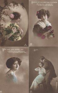 Happy Birthday 4x Antique WW1 War Love Glamour Postcard s