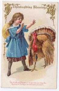 Vintage Thanksgiving Postcard Turkey Pretty Girl 1910 Jaeger Embossed Gilded