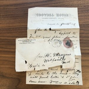 1887- Greencastle , PA - CROWELL HOUSE - JAMES SHIREY - VINTAGE ANTIQUE LETTER