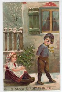 Christmas, Boy with Girl on Sleigh