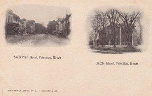 PRINCETON , Illinois , 1900-10s ; South Main street & Lincoln School
