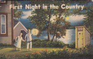 Humour Young Couple Going To Outhouse First Night In The Country