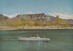 Mailship Leaving Cape Town South Africa 1980s Postcard