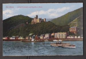 Rhein River View Of Castle With Old River Cruise Ships - Unused - Edge Wear
