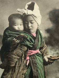 C1900 Japanese young girl with baby hand tinted RPPC Postcard