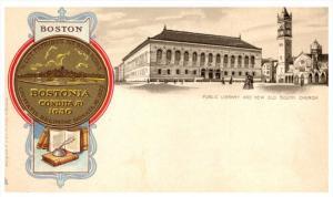 16555  Tuck's  5016 Heraldic   MA Boston  Public Library and New Old Sou...
