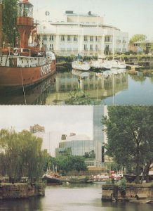 Boats at St Katherine Tower London Thames River 2x Postcard s
