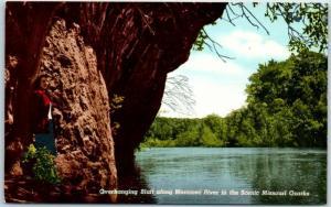 Missouri Postcard Overhanging Bluff along Merramec River Ozarks Route 66 Linen