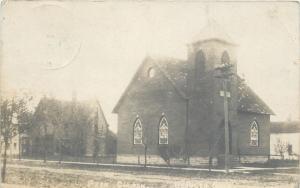 Deshler Ohio~Presbyterian Church & Parsonage~Sepia Real Photo Postcard c1910