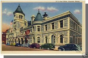 Augusta, Maine/ME Postcard, US Post Office, 1940's Cars