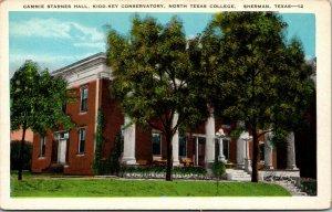 Vtg North Texas College Cammie Starnes Hall Kidd Key Conservatory TX Postcard