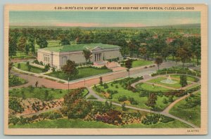 Cleveland Ohio~Birdseye Art Museum & Fine Arts Garden~1940s Linen Postcard