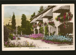 Postmarked 1948 Butcharts Gardens Victoria BC Hand Colored Real Photo Postcard