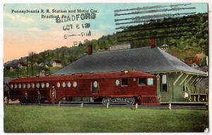 Penn RR Station & Motor Car, Trolley, Bradford PA