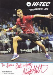 Nick Matthew Mens Squash Champion Hand Signed Card Photo