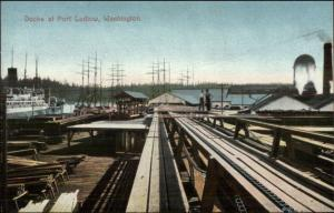 Port Ludlow WA Docks c1910 Postcard
