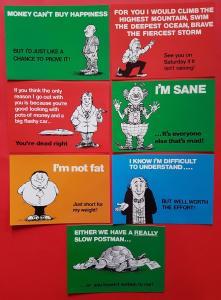 NEW Pack of 7 Comic Saucy Joke Slogan Postcards