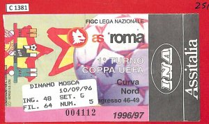 C1381 - Vecchio  BIGLIETTO PARTITA CALCIO - 1996/97 ROMA vs DINAMO Mosca MOSCOW