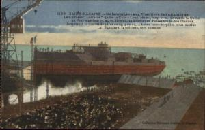 St. Nazaire France Steamship Lorraine Launching c1915 Postcard
