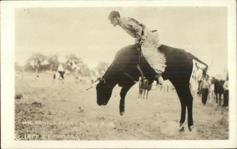 Cowboy Rodeo MacDonaldn on a Joy Ride 1917 Real Photo Postcard