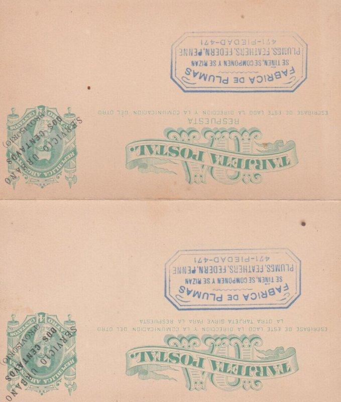 BUENOS AIRES , Argentina , 1890s ; Fabrica De Plumas ; reply/return set