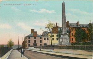 Postcard Canada Quebec montcalm monument street view flag city village road
