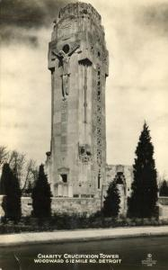 RPPC Charity Crucifixion Tower on Woodward - Detroit MI, Michigan - pm 1935