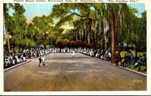 Florida St Petersburg Waterfront Park Tourist Roque Court 1941