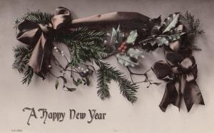 Upper Holloways Islington 1911 Antique Satin Happy New Year Greetings Postcard