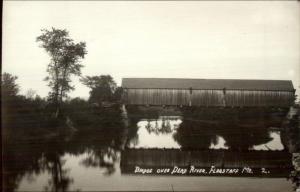 Flagstaff ME Covered Bridge Dead River c1920s Real Photo Postcard
