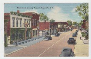 P2074, vintage postcard old cars signs etc main street. st. johnsville ny unused