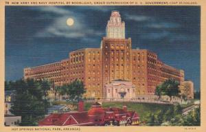 Arkansas Hot Springs New Army and Navy Hospital By Moonlight Curteich