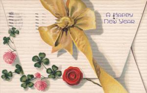 Happy NEW YEAR; Sealed envelope Shamrocks, pink flowers, yellow bow, PU-1907