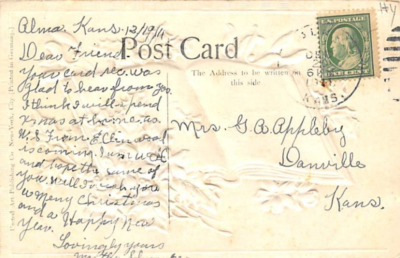 Christmas Postal used unknown light yellowing from age