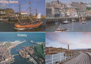 Whitby Harbour Rainbow Pirate Type Guide Ship Boat Aerial 4x Stunning Postcard s