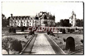 Postcard Old Chateau Chenonceaux I and L Gardens