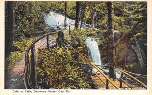 Delaware Water Gap Pennsylvania~Caldina Falls~Rustic Bridge~Boy on Bank~1916 PC