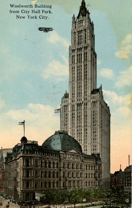 NY - New York City. Woolworth Building, Aeroplane, circa 1913
