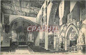 Old Postcard Mont Saint Michel Interior of the Parish Church The Nave