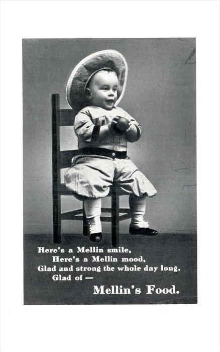 12267 Advertising   Mellin´s Food,  Baby Boy Real Photo child Named on back