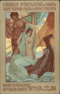 Nude Woman Poster Art Marina Exposition Genova 1914 FAINI Postcard jrf