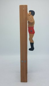 Vtg Handmade Wood Jointed STRONGMAN Acrobat Flipping Toy Trapese Flip Swinging