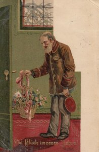 NEW YEAR, 1906 ; Old man delivers basket of flowers