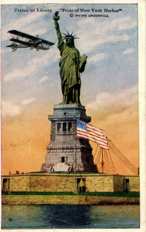 NY - New York City. Statue of Liberty, Aeroplane, circa 1910