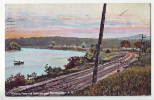 P1163 1907 used postcard martins ferry railroad station tracks manchester n.h