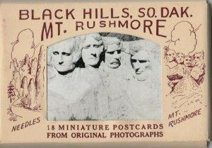 Black Hills , South Dakota, 1930s-40 Packet 18 Mini Postcards Mt. RUSHMORE