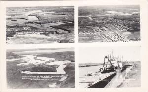RP: FORT PECK DAM , Nr Glasgow, Montana, 1930s ; 4-view postcard Version - 1