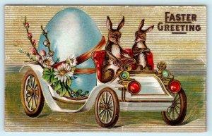 EASTER GREETINGS Embossed BUNNIES Rabbits DRIVING CAR Egg 1911  Postcard
